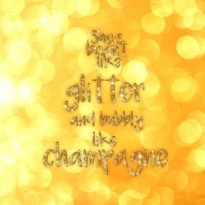 Typography Glitter Gold Champagne by Grab My Art