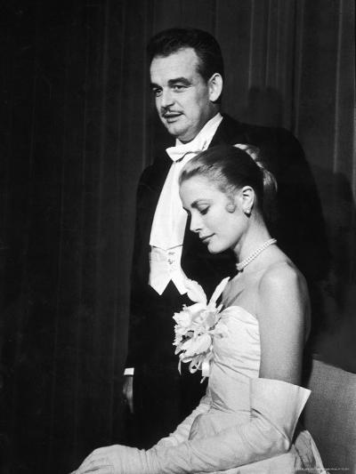 Grace Kelly and Prince Rainier III Attending a Banquet After Announcing Their Engagement-Ralph Morse-Premium Photographic Print