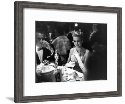 Grace Kelly Sitting at Romanoff's-George Silk-Framed Premium Photographic Print
