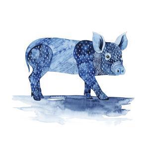 Cobalt Farm Animals II by Grace Popp