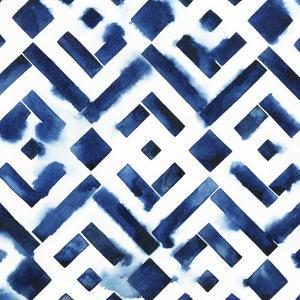 Cobalt Watercolor Tiles II by Grace Popp