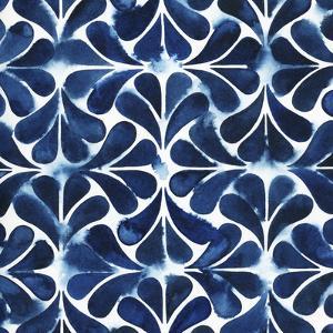 Cobalt Watercolor Tiles III by Grace Popp