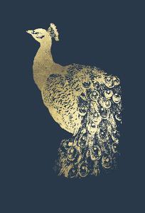 Gold Foil Peacock I on Cobalt by Grace Popp