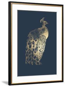 Gold Foil Peacock II on Cobalt by Grace Popp