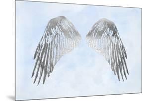 Silver Foil Wings I on Blue Wash by Grace Popp