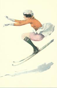 Graceful Lady Skiing Moguls