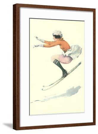 graceful lady skiing moguls u l