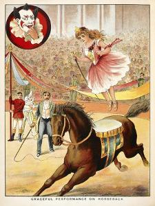 Graceful Performance On Horseback'. a Woman Performer With a Horse in a Circus Ring