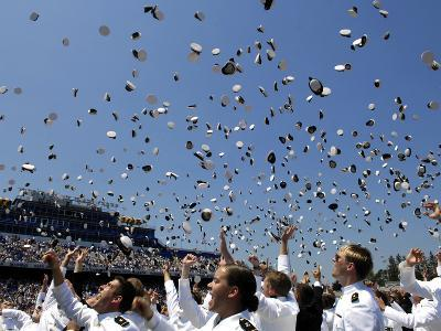 Graduates of the U.S. Naval Academy Throw Their Hats Into the Air-Stocktrek Images-Photographic Print