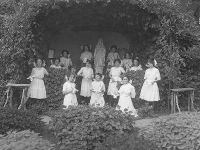 Graduating Class of Girls from the Roman Catholic Orphan Asylum Posed before the Grotto-William Davis Hassler-Photographic Print