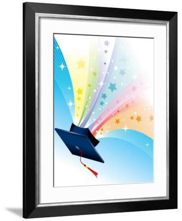 Graduation Cap with Tassels and Sparkling Stars--Framed Photographic Print