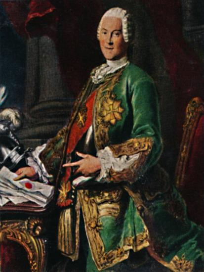 'Graf von Brühl 1700-1763. - Stich nach dem Gemälde von Silvestre', 1934-Unknown-Giclee Print