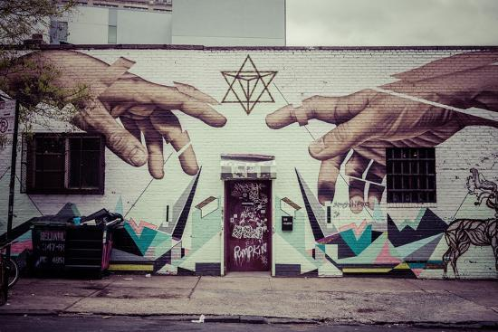 Graffiti of Michelangelo´s God and Adam´s hands in Williamsburg, Brooklyn, New York, USA-Andrea Lang-Photographic Print