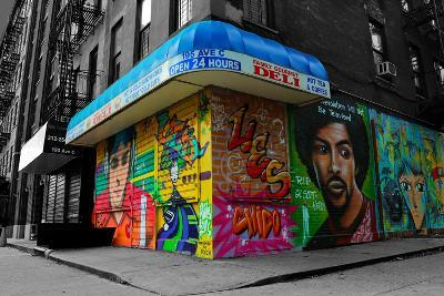 Graffiti on storefronts in NYC--Photo