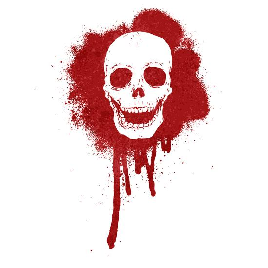 Graffiti Skull Blood Red-lineartestpilot-Photographic Print