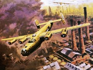B-24 Liberator Bombers Doing Service in World War Ii by Graham Coton