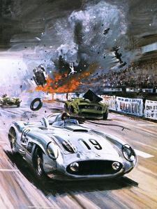Mercedes Crash in the 1955 Le Mans Race by Graham Coton