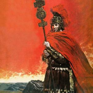 Roman Legionary in Front of Hadrian's Wall by Graham Coton