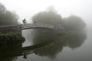 A cyclist on a bridge on Birmingham Canal Navigations (BCN), Birmingham, West Midlands, England, Un by Graham Lawrence