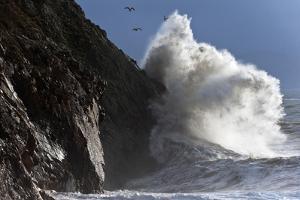 Huge Waves Crash Against Cliffs at Criccieth, Gwynedd, Wales, United Kingdom, Europe by Graham Lawrence