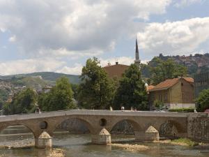 Latin Bridge (Latinska Cuprija), Across the River Miljacka, Sarajevo, Bosnia, Bosnia-Herzegovina by Graham Lawrence