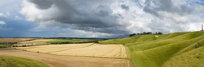Panoramic Landscape View of the Cherhill Downs, Wiltshire, England, United Kingdom, Europe