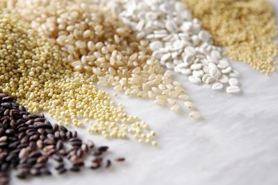 Grain Still Life: Brown Rice, Millet, Rice, Pearl Barley, Amaranth- Amana Images Inc.-Photographic Print