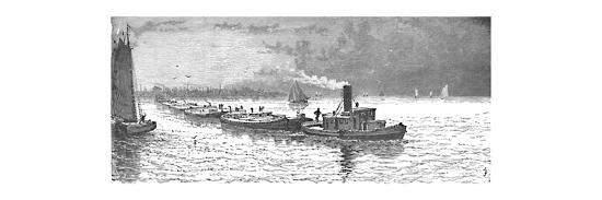 'Grain-Vessels leaving Chicago', 1883-Unknown-Giclee Print
