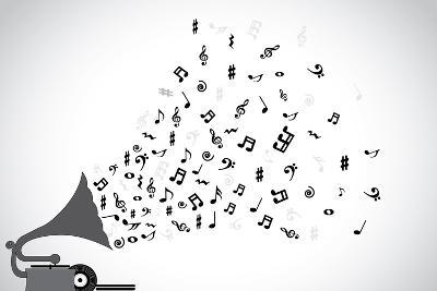 Gramophone Silhouette Playing Slow Soothing Music and Different Notes Flowing out of the Speaker-Harisha-Art Print