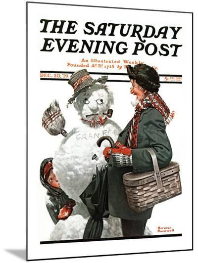 """Gramps and the Snowman"" Saturday Evening Post Cover, December 20,1919-Norman Rockwell-Mounted Print"