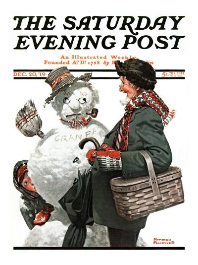 """""""Gramps and the Snowman"""" Saturday Evening Post Cover, December 20,1919-Norman Rockwell-Giclee Print"""