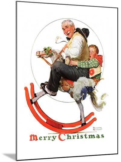 """""""Gramps on Rocking Horse"""", December 16,1933-Norman Rockwell-Mounted Print"""