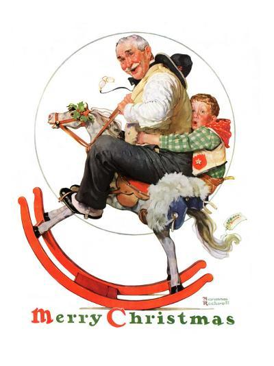 """""""Gramps on Rocking Horse"""", December 16,1933-Norman Rockwell-Giclee Print"""
