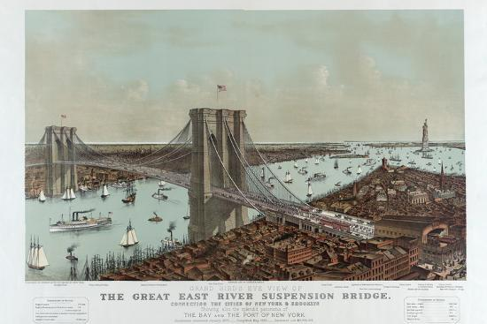 Grand Birds Eye View of the Great East River Suspension Bridge by Currier & Ives-Fine Art-Photographic Print