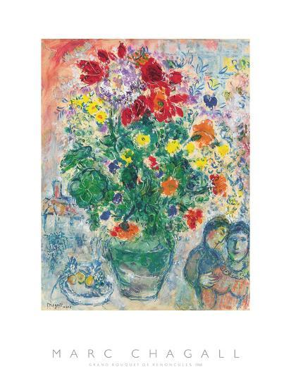 Grand Bouquet de Renoncules, 1968-Marc Chagall-Art Print