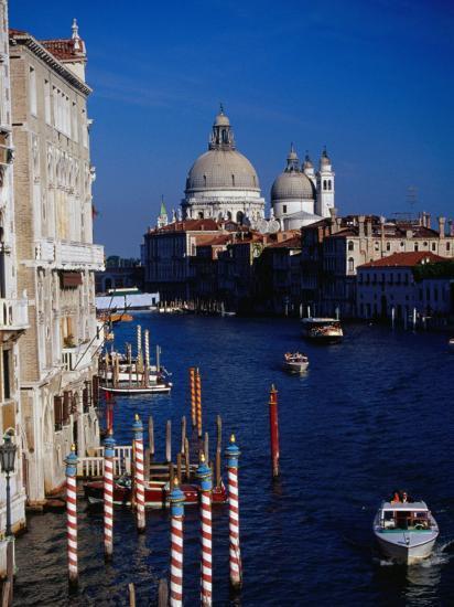 Grand Canal and Domes of Chiesa Di Santa Maria Della Salute in Distance, Venice, Italy-Gareth McCormack-Photographic Print