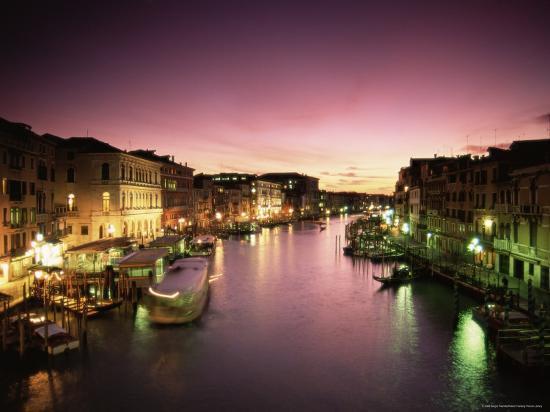 Grand Canal at Dusk, Venice, Unesco World Heritage Site, Veneto, Italy, Europe-Sergio Pitamitz-Photographic Print