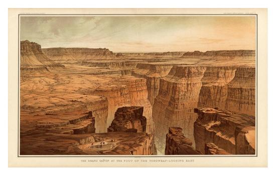 Grand Canyon: Foot of the Toroweap looking East, c.1882-William Henry Holmes-Art Print