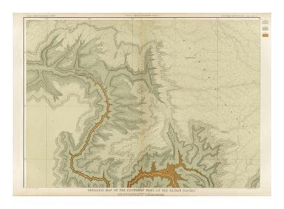 Grand Canyon: Geologic Map of the Southern Kaibab Plateau (Part I, North-West), c.1882-Clarence E^ Dutton-Art Print