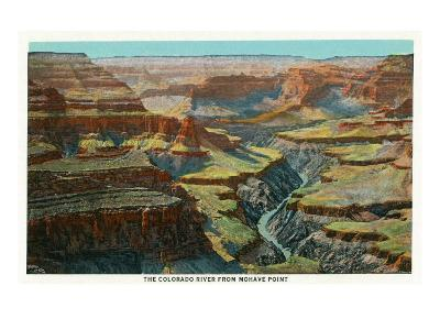Grand Canyon Nat'l Park, Arizona - Aerial View of the Colorado River from Mohave Point, c.1932-Lantern Press-Art Print