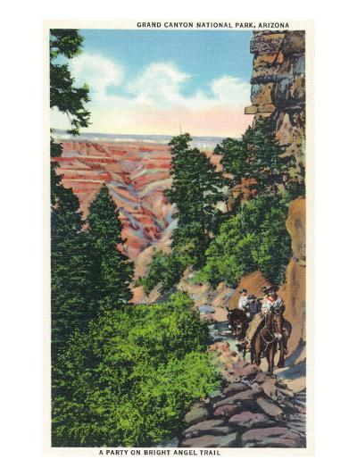 Grand Canyon Nat'l Park, Arizona - Men on Burros on the Bright Angel Trail-Lantern Press-Art Print