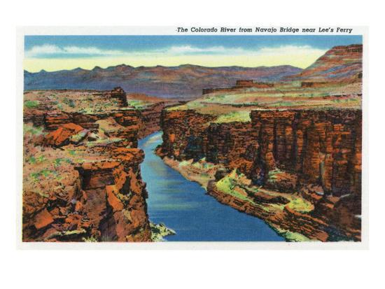 Grand Canyon Nat'l Park, Arizona - Navajo Bridge View of Colorado River Near Lee's Ferry, c.1938-Lantern Press-Art Print