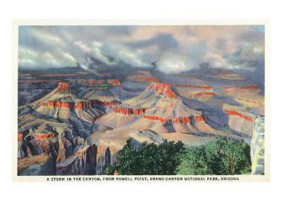 Grand Canyon Nat'l Park, Arizona - Powell Point View of a Canyon Storm-Lantern Press-Art Print