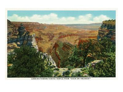 "Grand Canyon Nat'l Park, Az - Panoramic View, Vishnu Temple from ""Duck-On-The-Rock"", c.1932-Lantern Press-Art Print"