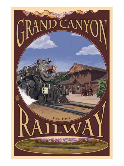 Grand Canyon National Park, Arizona, Grand Canyon Railway-Lantern Press-Art Print