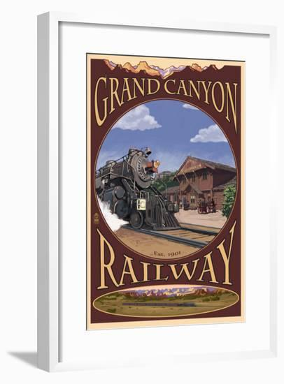 Grand Canyon National Park, Arizona, Grand Canyon Railway-Lantern Press-Framed Art Print