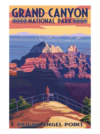 Grand Canyon National Park - Bright Angel Point-Lantern Press-Premium Giclee Print