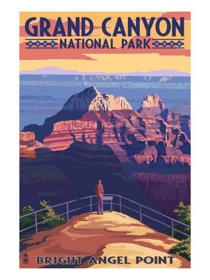 Grand Canyon National Park - Bright Angel Point-Lantern Press-Art Print