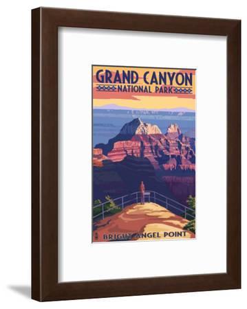 Grand Canyon National Park - Bright Angel Point-Lantern Press-Framed Art Print