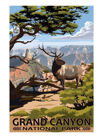 Grand Canyon National Park - Elk & Point Imperial-Lantern Press-Premium Giclee Print